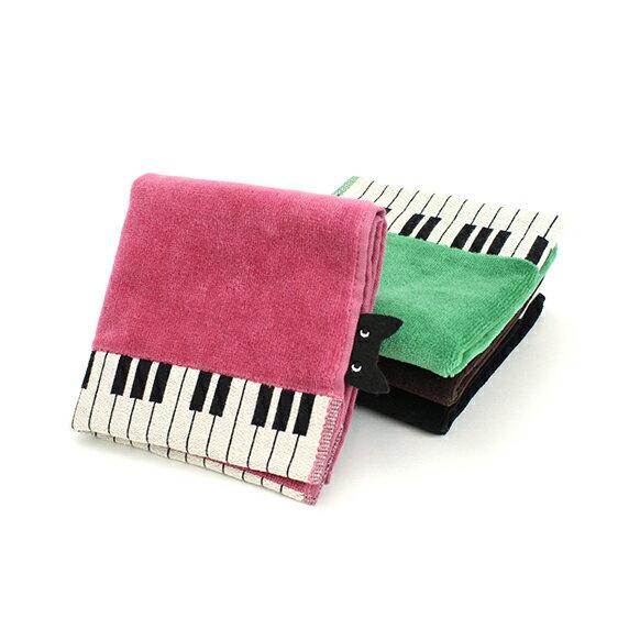 音楽雑貨 ひょっこり黒猫ハンカチ 鍵盤 544-1600-10 レオノーレ