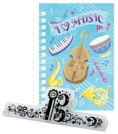 ST104ILM リングメモ&ロングクリップセット I love I LOVE MUSIC   YOUKOU  音楽雑貨