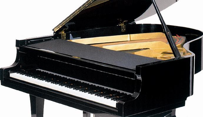 ♪グランドピアノ フロントフレームカバー 黒 ヤマハタイプ レッスン用品 ピアノ用品 ピアノの埃や消しクズをガード!