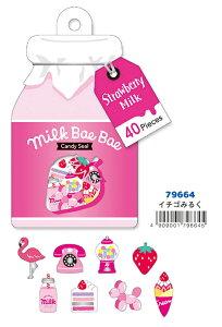 79664 Milk Bae Bae Candy Seal-ミルクべべステッカー いちごミルク マインドウエイブ