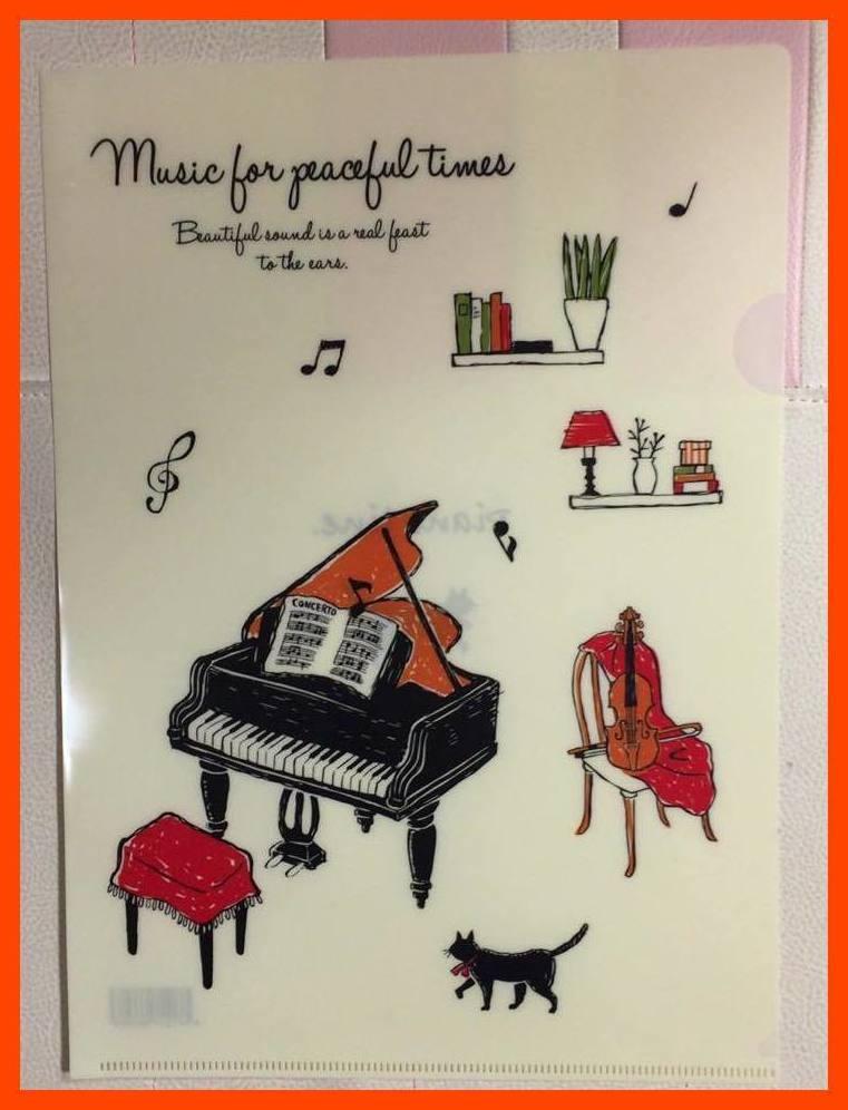 アラモード Piano line ピアノライン A4クリアファイル  0306701 音楽雑貨