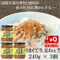 国産生姜使用うまくて生姜ねぇ240g×3個