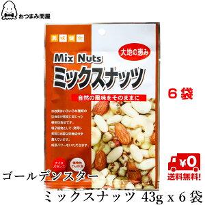 送料無料 ナッツ ミックスナッツ 塩味 GSミックスナッツ 43g x 6袋 常温保存 キャッシュレス還元