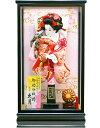 【羽子板 送料無料】久月作 華流水 刺繍金襴 桃赤 明日香ケース飾り (55080-2) ご購入特典付き
