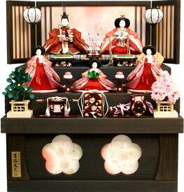 【雛人形 送料無料】吉徳大光 刺繍「花ひいな」五人 収納式三段飾り《606-631》