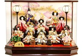 【雛人形 送料無料】雛人形 久月「十五人飾り」アクリルケース飾り オルゴール付ケース《66218》