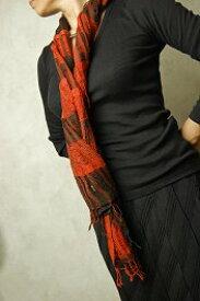インド ウールスカーフ(ストール、マフラー)オレンジ ブラウン系 チェック ボーダー 【メンズ】【レディース】【アジアン】【プレゼント】【ポンチョ】【YDKG-f】【エスニック】【ネコポスOK】【送料無料!】