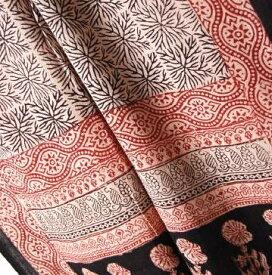 インド更紗 木版プリントコットンスカーフ(ストール ドゥパタ) 幾何学 植物 メンズ プレゼント アジアン インド綿 ポンチョ ネコポスOK +H