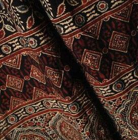 インド更紗 アジラック(アズラック)草木染めコットンスカーフ(ストール) メンズ プレゼント アジアン インド綿 ポンチョ ネコポスOK +H
