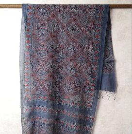 インド更紗 アジラック(アズラック)草木染めシルクコットンスカーフ(ストール) ブルー系 メンズ プレゼント アジアン ポンチョ ネコポスOK +H+A+Y