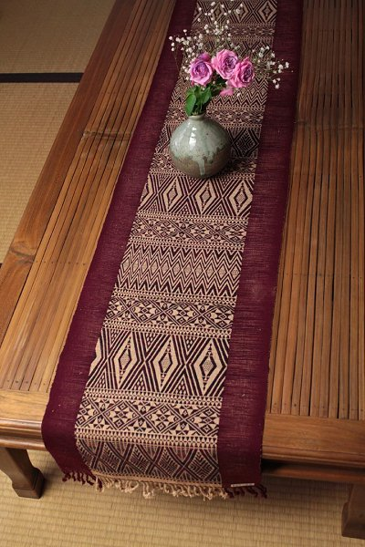 Myanmar Chin State Hand Woven Cloth Table Runner Scarf Tapestry Draperies  Engine + H