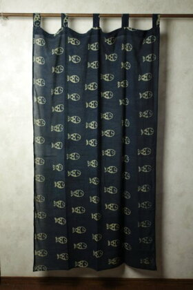 インド木版染めコットンボイルカーテン