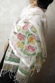 インド 手描きシルク コットンストール 白 花柄 【アジアン】【プレゼント】【レディース】【ポンチョ】【YDKG-f】【エスニック】【ネコポスOK】