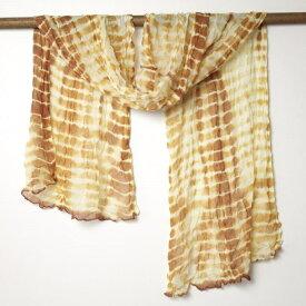 インド 絞りシフォンストール 白 茶 スカーフ ネコポスOK レディース ファッション メンズ プレゼント アジアン ポンチョ エスニック