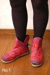 タイモン族刺繍バックレースアップアンクルブーツ