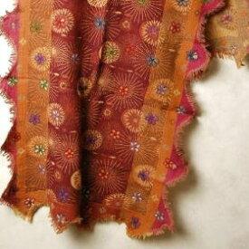 インド 刺繍入り♪カットワークフリンジウールストール(マフラー、ショール) メンズ レディース プレゼント アジアン エスニック ポンチョ