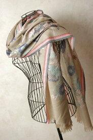 インド ステッチ刺繍ウールストール 植物 マフラー、ショール、スカーフ 【送料無料!】【レディース】【アジアン】【プレゼント】【ポンチョ】【YDKG-f】【エスニック】+H