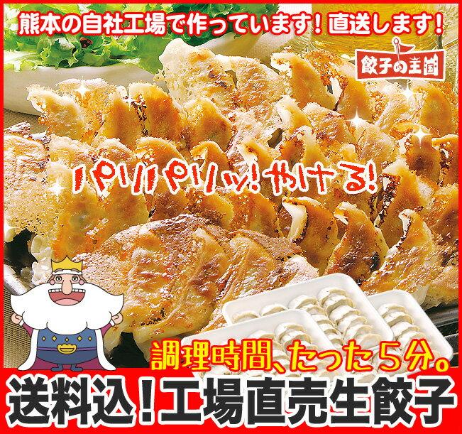 [餃子の王国]【送料込】工場直売生餃子 72個!(24個×3トレー)国産野菜に、九州産豚肉100%使用し熊本の自社工場で製造(安心素材で、パリパリ焼ける餃子です!)