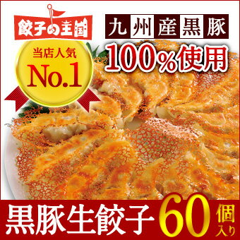 [餃子の王国]【黒豚生餃子 60個】当店人気NO.1餃子国産(主に九州)野菜に、九州黒豚100%使用