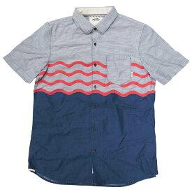 VANS APPAREL バンズ アパレル WAVE STRIPE SHIRT [DARK DENIM](バンズ・ヴァンズ・メンズ・シャツ・半袖・オックスフォード・スケート 青 ブルー 赤 レッド )