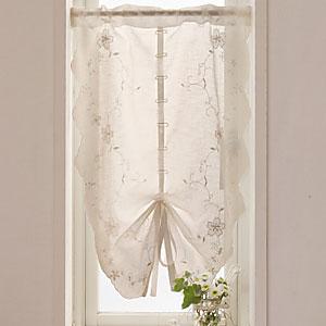 リボンマリア アイボリー 小窓カーテン 幅85x丈105cm 【小窓 ミニカーテン トイレ 目隠し 小窓用 カーテン ナチュラル】