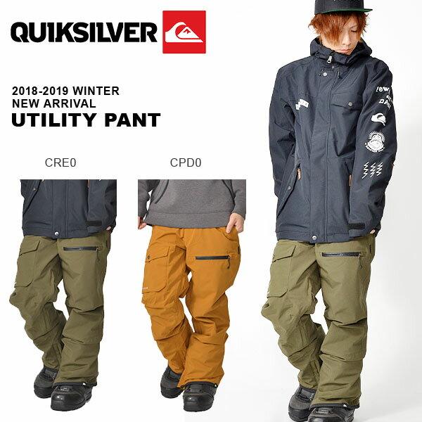 送料無料 スノーボードウェア QUIKSILVER クイックシルバー メンズ UTILITY PANT スノボ スノーボード スノー パンツ ウェア 2018-2019冬新作 18-19 18/19 10%off