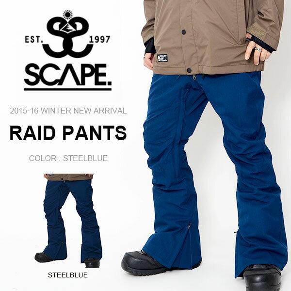 現品のみ 送料無料 スノーボードウェア SCAPE エスケープ RAID PANTS メンズ パンツ ライド スノボ スノーボード スノーウェア ボトムス レギュラーフィット 35%off