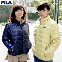 FILA フィラ ダウンジャケット ライトダウン メンズ レディース ショート 軽量 軽量ダウン ブランド 大きいサイズ ペアルック ショート丈 ブラック ネイビー ベージュ グレー