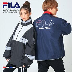 FILA フィラ ナイロンジャケット ブルゾン ワンポイント ロゴ メンズ バックプリント スタンド ジャケット ジャケット カジュアル おしゃれ 大きめ おおきい サイズ お揃い カップル ユニ