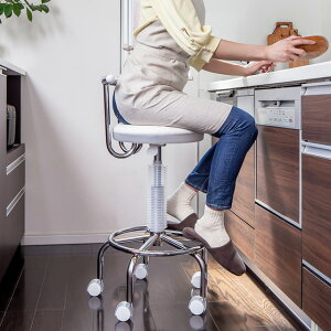 キッチンチェア ガス圧 昇降式 回転チェア キャスター付き キッチンチェアー カウンターチェアー 台所 椅子 回転 高さ調節