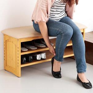 玄関ベンチ 収納棚付き 下駄箱 シューズラック 靴収納 収納付き 玄関 椅子 チェア ベンチシート ガタツキ防止付き 幅90cmタイプ