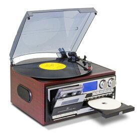 レコードプレーヤー CDプレーヤー カセットテープ プレーヤー ラジオ SDカード USBメモリ MP3 録音 スピーカー内蔵
