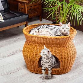 猫 ベッド ラタン 2段ベッド ちぐら ドーム キャットハウス 猫ベッド ペット用ベッド 小型犬ベッド ウレタンクッション付き
