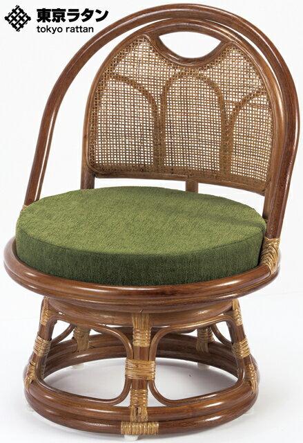 東京ラタン 天然籐 籐製 回転チェア 座椅子 ロータイプ アジアン TG