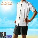 アクア 【AQA】 メンズ スイム ジップ ショート KW-4450A 1704 ラッシュガード 日焼け防止 半袖 ウェア 海 海水浴 プール ストレッチ 男性 紳士