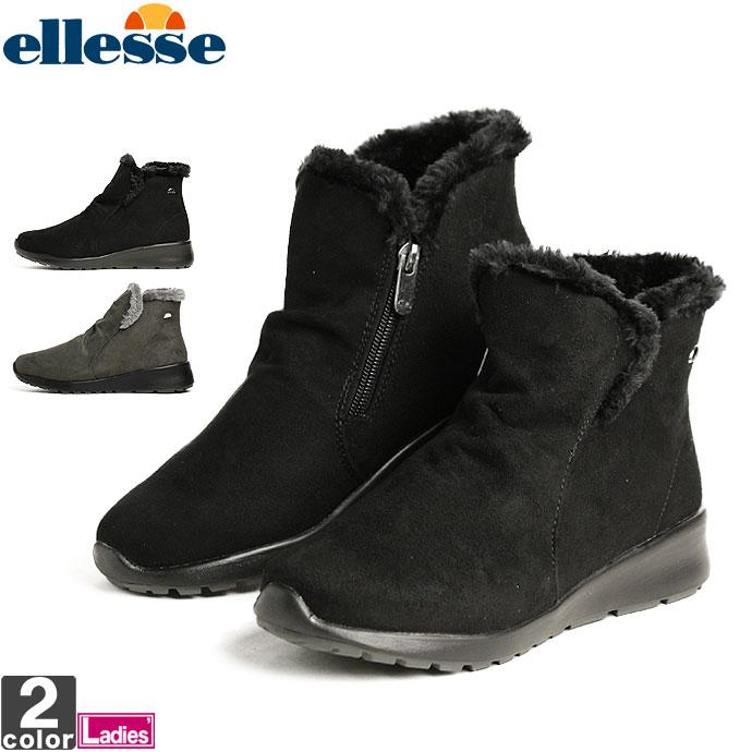 エレッセ【ellesse】レディース ウィンター ショート ブーツ V-WT272 1810 靴 冬 雪 雨 防水 撥水 軽量 ファー スエード ファスナー カジュアル タウンユース シューズ ブーティ