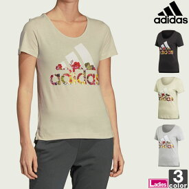 半袖Tシャツ アディダス adidas レディース FSR83 半袖 フラワーTシャツ 1905 Tシャツ 丸首Tシャツ クルーネックTシャツ Uネック 花柄 ロゴT ゆうパケット対応
