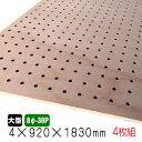 有孔ボード ラワンベニヤ(無塗装) 4mm×920mm×1830mm(8φ-30P/A品) 4枚組