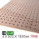 有孔ボード ラワンベニヤ(無塗装) 4mm×920mm×1830mm(8φ-30P/A品) 10枚組