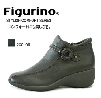 Figurino (vigliano) leg 230 g super lightweight design! Japan book binding leather light-weight leg wedge short boots FIG7402 wise 4E/5E ◆ comfort and wear the once major promise. [(Y 4ena5e)