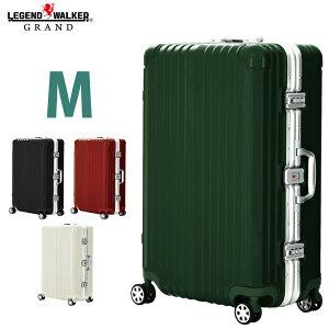 【名前入れ無料!】スーツケース ダブルキャスター 8輪 Mサイズ 5日 6日 7日 ワイドフレーム OKOBAN キャリーケース キャリーバッグ GRAND 高級 レジェンドウォーカー グラン W-5601-64
