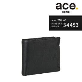 2つ折り財布 ace.TOKYO エーストーキョー ウォールコート サイフ ウォレット 牛革キップスムース メンズ レディース ユニセックス「AE-34453」