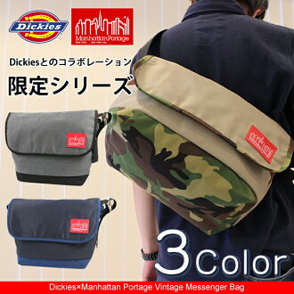 17225800旅遊朝着信使包挎包小肩膀Dickies Dickies Manhattan Portage manhattampotejipoketto充實古典線戶外斜去上班,上學