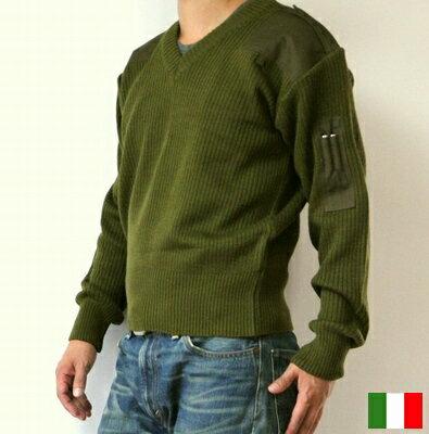 イタリア軍 コマンド セーター / コンバット ニット Vネック / 新品 軍 / ミリタリー デッドストック
