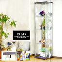 【背面ミラー仕様】ガラスコレクションボード 幅42.5cm×高160cmスリムハイタイプ コレクションボード 4段 棚板強化ガ…