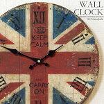 壁掛け時計ユニオンジャック幅34cmレトロ調アンティークデザインウォールクロックレトロクロックラウンドクロック丸型時計壁掛時計丸時計掛け時計円形擦れ風デザインクロックインテリア時計木目調ローマ数字イギリス国旗英国旗【CLS1】