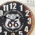 壁掛け時計ルート66-ブラック幅34cmレトロ調アンティークデザインウォールクロックレトロクロックラウンドクロック丸型時計壁掛時計丸時計掛け時計円形擦れ風デザインクロックインテリア時計ROUTE66プレート風【CLS1】