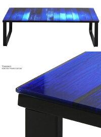 幅105cmガラスセンターテーブル6mm厚強化ガラススチールフレーム木目調青色グラデーションカラー幅105cm×55cmガラステーブルロ—テーブル男前インテリアアメリカンレトロデザイン木目柄ブルーブラックパープル系