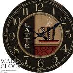 壁掛け時計カフェラテ幅34cmレトロ調アンティークデザインウォールクロックレトロクロックラウンドクロック丸型時計壁掛時計丸時計掛け時計円形デザインクロックインテリア時計カジュアルカフェ風昭和レトロコーヒーカップ【CLS2】