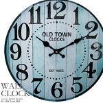 壁掛け時計オールドタウンブルー幅34cmレトロ調アンティークデザインウォールクロックレトロクロックラウンドクロック丸型時計壁掛時計丸時計掛け時計円形デザインクロックインテリア時計木目調ライトブルーマリンカラー【CLS2】